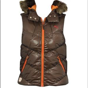 Puma Down Fill Puffer  Hooded Vest Size M NWT